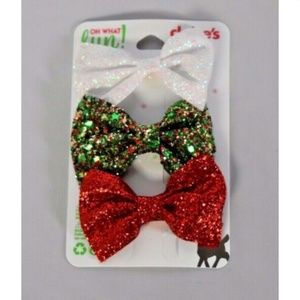 Claire's girls hair bow barrette clip glitter